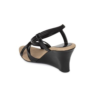 Do Bhai Patent Sandals-400-Black