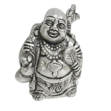 eCraftIndia White Metal Laughing Buddha - Silver