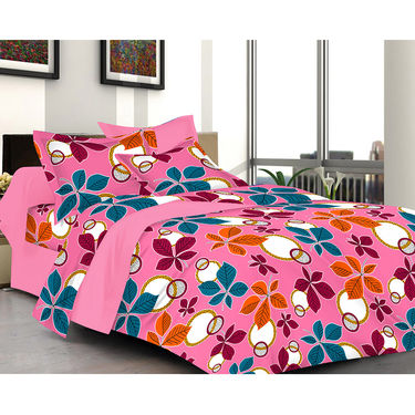 Valtellina Pink Color Florish Design  Double bedsheet With 2 Pillow cover