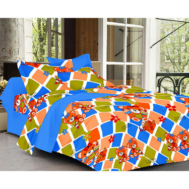 Valtellina Cartoon  With Stripes  Design  Blue Color Double bedsheet With 2 Pillow cover