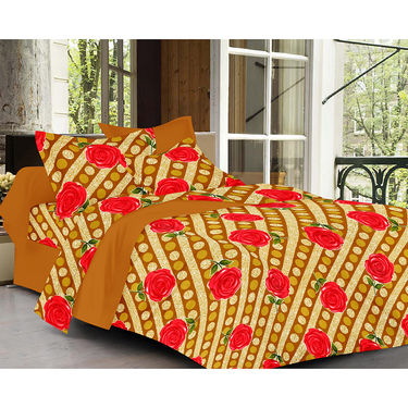 Valtellina Rose  Design Brown Color Double bedsheet With 2 Pillow cover
