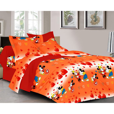 Valtellina Cartoon Design With Heart Print Orange Color Double bedsheet With 2 Pillow cover