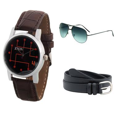 Combo of Zion Fashion 1 Wrist Watch + 1 Sunglasses + 1 Belt_ZW 425