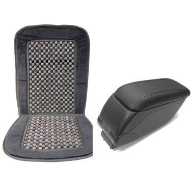 Combo of Universal Armrest  + Car Seat Beads Velvet and Wooden In Black_AF-31815