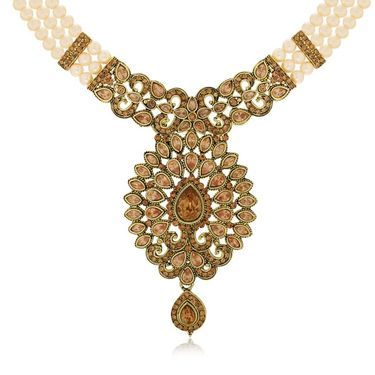 Spargz Royal Necklace Set With Gold Finish Ring & Enamel Kada_Cb415