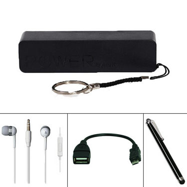 Combo Of Vizio 2600mAh Power Bank + Stylus pen + OTG Cable v8 + Earphone