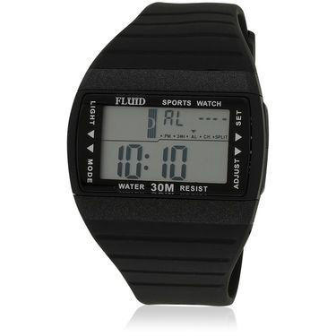 Fluid Digital Square Dial Watch For Unisex_d01bk01 - Black