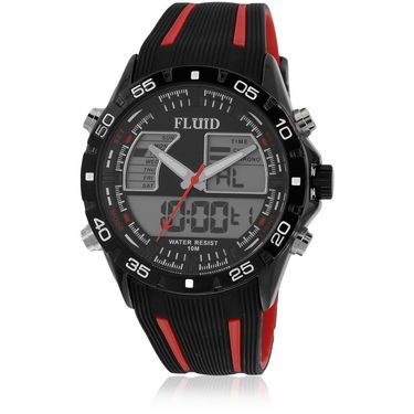 Fluid Analog & Digital Round Dial Watch For Unisex_d05rd01 - Black & Red