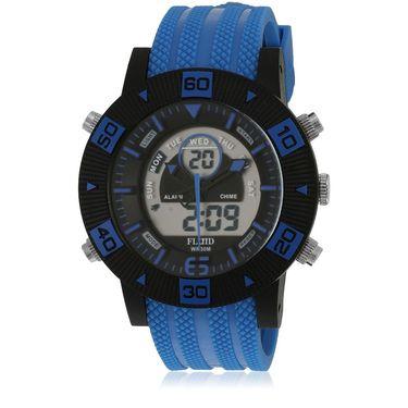 Fluid Analog & Digital Round Dial Watch For Unisex_d07bl01 - Black & Blue