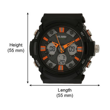 Fluid Analog & Digital Round Dial Watch For Unisex_d08or01 - Black & Orange