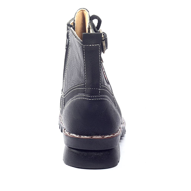 foot n style Faux leather Boots - Black-3615