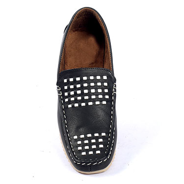 Foot n Style Italian Leather Loafers  FS258 - Black & White