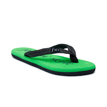 Foot n Style Fabric Slippers  FS129 - Black & Green