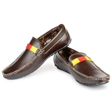 Foot n Style Leather Dark Brown Loafers Shoes -fs3009