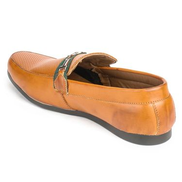 Foot n Style Leather Tan Loafers Shoes -fs3013
