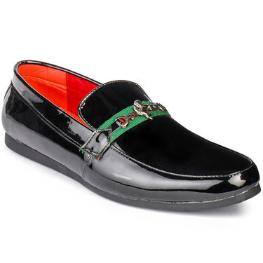 Foot n Style Patent Leather Black Loafers Shoes -fs3018