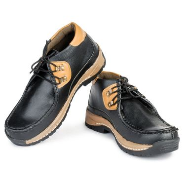 Foot n Style Nubuck Leather Black Casual Shoes -fs3032