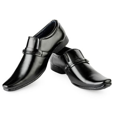 Foot n Style Leather Black Formal Shoes -fs3090