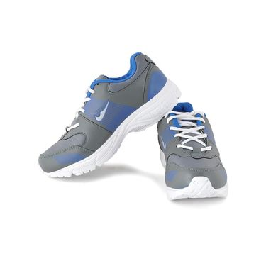 Foot n Style Synthetic Leather Sports Shoes FS 492 -Grey & Blue