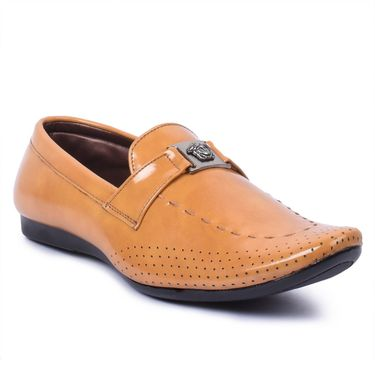 Foot n Style Leather Tan Loafers Shoes -Fs5001