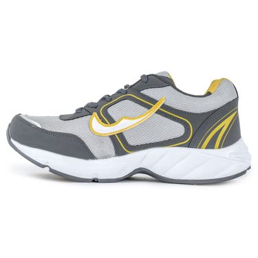 Foot n Style Synthetic Leather Sports Shoes FS 528 -Grey & Yellow