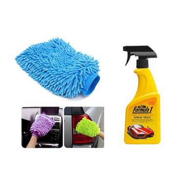 Speedwav Car/bike Cleaning Kit Formula 1 Spray Wax Polish With Microfiber Glove