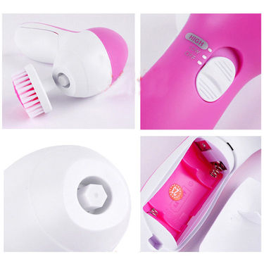 5 in 1 Face Massager & Cleaner - Pink