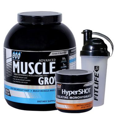 Gxn Advance Muscle Grow, 6 Lb ( 2.27Kgs ) Banana+ Gxn Hyper Shot 300g