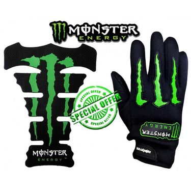 Combo Of Monster Tank Pad And Monster Black Gloves