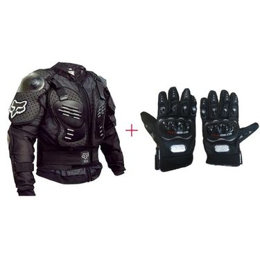 Fox Riding Jacket & Pro-Biker Gloves Combo
