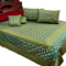 Little India Double Bedcover with 2 Cushion Cover and 2 Pillow Cover - Green- DLI3SLK346