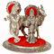 White Metal Lord Radha Krishna Idol with Cow