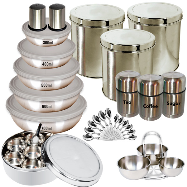 Buy branded 35 pcs stainless steel storage set online at for Kitchen set name