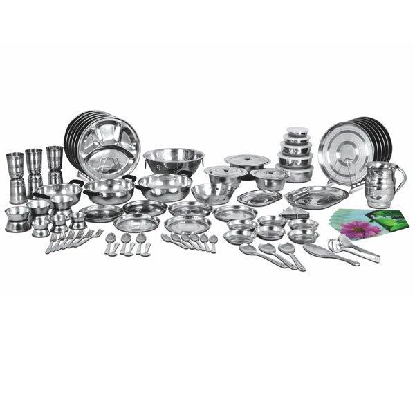 Naaptol Kitchen Set: Buy 101 Pcs Elegant Stainless Steel Dinner Set Online At