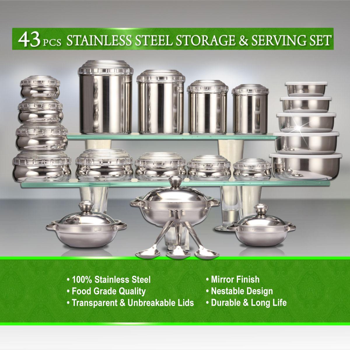 Buy 43 pcs stainless steel storage serving set online at for Naaptol kitchen queen set