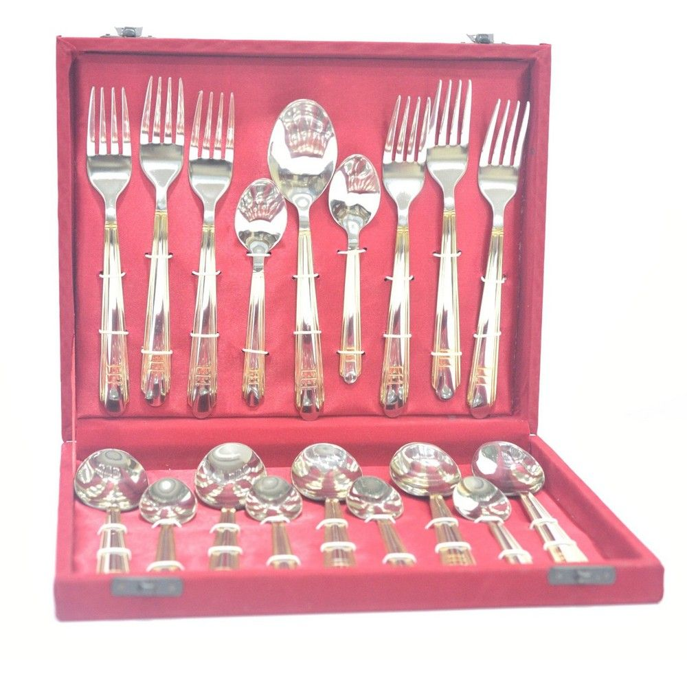 Buy lacuzini roma gold finish cutlery set in velvet box 18 for Naaptol kitchen set 70 pieces