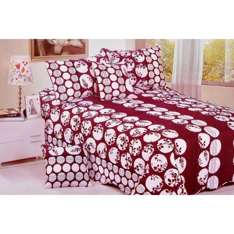Buy Magnetic Circle With Leaves Print Double Bed Sheet