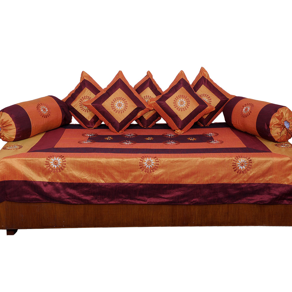Buy little india 8 piece diwan set brown golden online for Diwan bed set