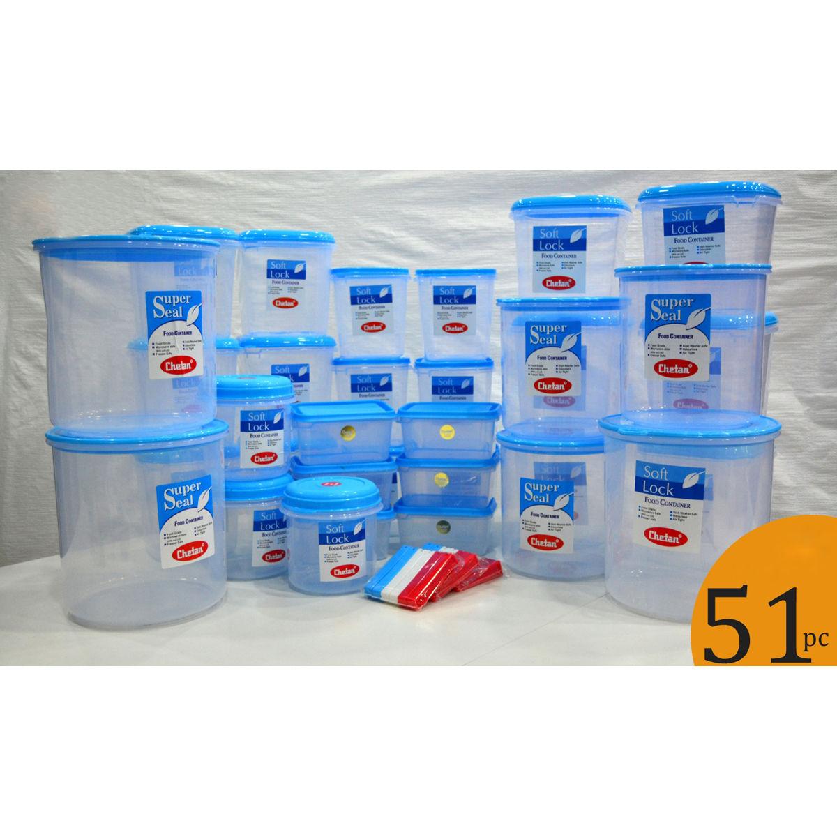 Buy chetan set of 51 pcs plastic airtight kitchen storage for Plastic kitchen set