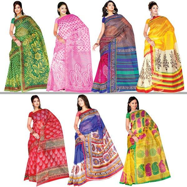 Purchase Set of 7 Sarees of Kota Doria from Naaptol at Flat 57% Off