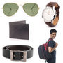 Combo of Wrist Watch + Laptop Backpack + Man Sunglass + Belt + Wallet