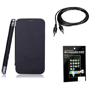 Combo of Camphor Flip Cover (Black) + Screen Guard + Aux Cable for Micromax A76