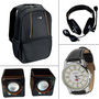 Combo of Laptop Backpack + Multimedia Speakers + Headphones + Wrist Watch