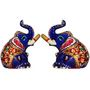 GRJ India Set of 2 Haveli Arts Metal Elephant With Meena Art