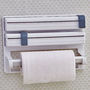 New Tri Wrap - Arrange Cling Film, Kitchen Foil, Paper Roll Easily - White