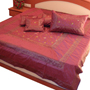 Little India Double Bedcover with 2 Cushion Cover and 2 Pillow Cover - Maroon