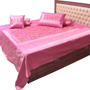 Little India Double Bedcover with 2 Cushion Cover and 2 Pillow Cover - Pink