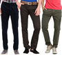Pack of 3 Good Karma Slim Fit Cotton Lycra Chinos