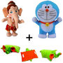 Combo of Pillow Cum Soft Toy Elephant + Lord Bal Ganesha & Doremon Cartoon Character