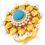 Sukkhi Incredible Gold Plated Ring - Sky Blue